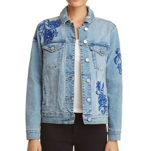 BLANK NYC Floral Embroidered Jean Jacket